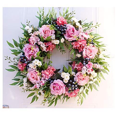 56cm/22inch Großer Kranz Simulation Rose Deko Kranz Wandkranz Handgefertigt Kranz für Zuhause, Parties, Türen, Hochzeiten Blumenkranz Künstliche Dekorative Rosa Durchmesser 56cm