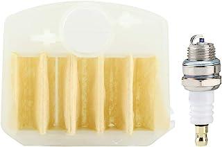 TOPINCN Filtro de Aire + Kit de bujía L7T Apto para Husqvarna 340 345 346 350 351 353 Piezas de Repuesto de Herramientas eléctricas para Exteriores