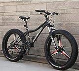 LJLYL Bicicleta de Montaña, Bicicleta de Montaña, Cuadro de Acero al carbono, Doble Disco de Freno y Horquilla Delantera, 26', color negro, tamaño 7 speed