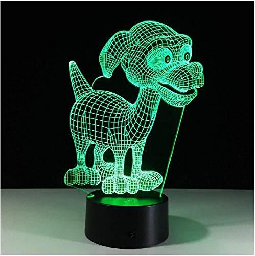 Encantadoras luces de noche de escritorio para cachorros, habitación de bebé, dibujos animados, luz nocturna 3D, lámpara Led para cama para niños, lámpara de noche para dormir con base táctil redonda