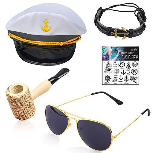 Beelittle Yacht Kapitän Hut Kostüm Zubehör Set einstellbar Boot Sailor Schiff Skipper Cap Aviator Sonnenbrille Tabakpfeife mit Anker Design-Zubehör (F)