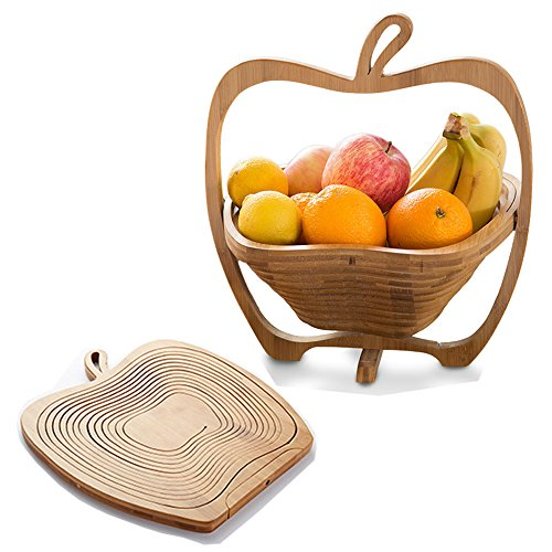 New Traditional 2 in 1 Apple Shaped Wooded Decorative Cutting Board Folding Bamboo Fruit Basket Bowl