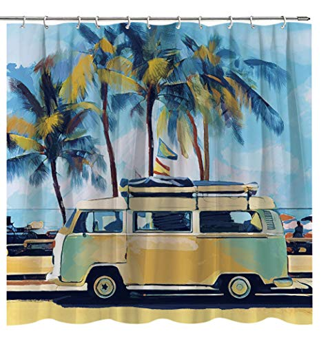 Lierpit Bus Shower Curtain with Bathroom Surf Bath Curtain Beach Holiday Tropical Travel Oil Painting Retro Tour Bus Bathroom Curtains Set Decoration Waterproof Accessorie with Hooks 69 x 70 inches