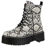 SCARPE VITA Damen Plateau Stiefeletten Worker Boots Profilsohle Stiefel 174765 Creme Snake 40