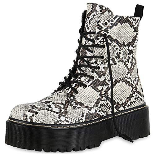 SCARPE VITA Damen Plateau Stiefeletten Worker Boots Profilsohle Stiefel 174765 Creme Snake 37
