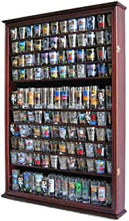 Large 144 Shot Glass Shooter Display Case Holder Wall Cabinet, UV Protection - MAHOGANY Finish