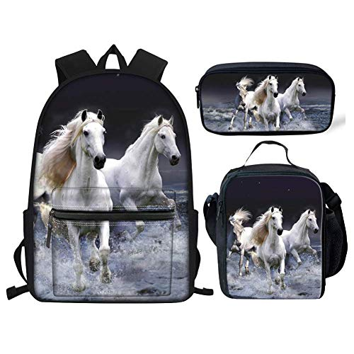 Crazy Horse Primary School Backpacks for Girls Teens Waterproof Small Laptop Rucksack School Bags with Lunch Bag Pencil Case Set