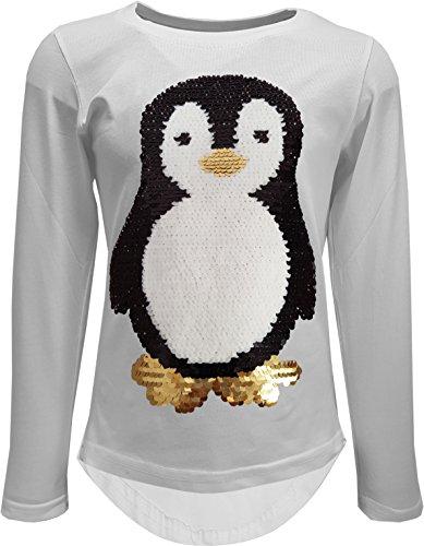 Camiseta de manga larga con lentejuelas reversibles para niña, diseño de pingüino...