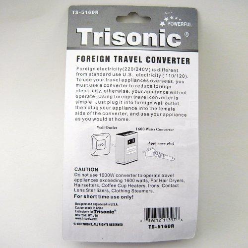 Trisonic Foreign Travel Converter 1600 W Watt AV Voltage Step Down Power Adapater 220 110