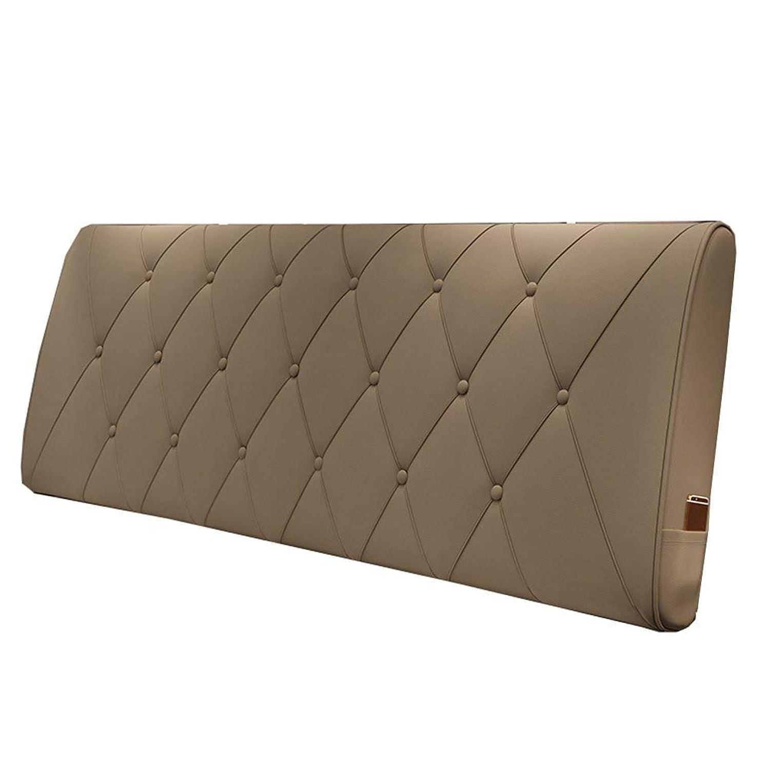 インタビュー現実にはデコレーションGLP 枕ヘッドボードソフトパック畳ベッドヘッドクッションラージバッククッションベッドヘッドカバーレザーモダン、3色&5サイズ、 (Color : Khaki, Size : 120*10*60cm)