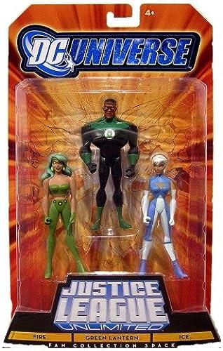 DC Universe - Justice League Unlimited - 3-Pack  FIRE + ICE + Grün LATERN - MATTEL
