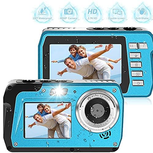 防水カメラ デジカメ 防水フルHD 2.7K 48 MP自撮り前後スクリーン16X倍デジタルズーム6連写最大128GBのSDカード対応 日本語取扱説明書付き 子供や初心者など最適ギフト ブルー