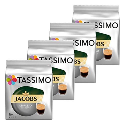 Tassimo Jacobs Espresso Ristretto, Kaffee, Kaffeekapsel, gemahlener Röstkaffee, 4er Pack, 4 x 16 T-Discs