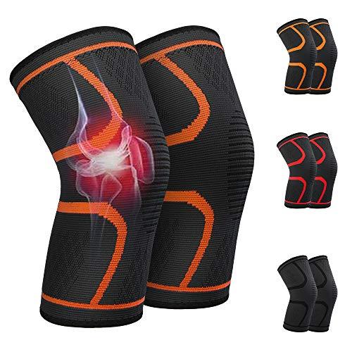 Vivibel Kniebandage Sport, 2 Stück Kompression Knieschoner, rutschfest Atmungsaktiv Elastische Knieschützer für Kompression, Laufen, Kickboxen, Fussball, Wandern, schmerzlindernd und schützend