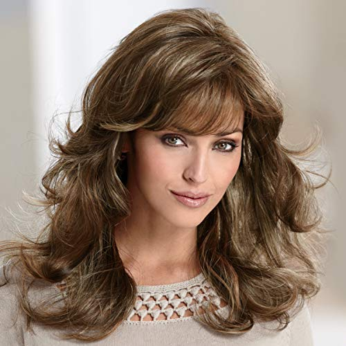 Gayle Wig by Paula Young - Long Wig with Soft, Face-Framing Bangs and Lush Layers Of Loose Curls/Multi-tonal Shades of Blonde, Silver, Brown, and Red