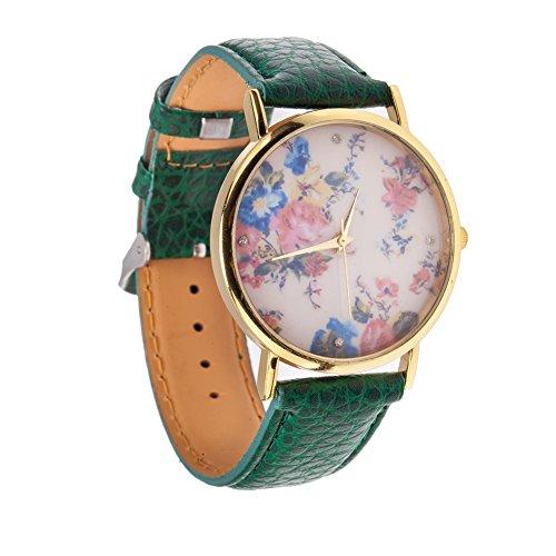 Reloj de muñeca cuarzo mujer estilo Vintage con alta calidad y Trendy Cinta sintética ecológica, carcasa color dorado y visualización con motivos de flores rosas VAGA y que