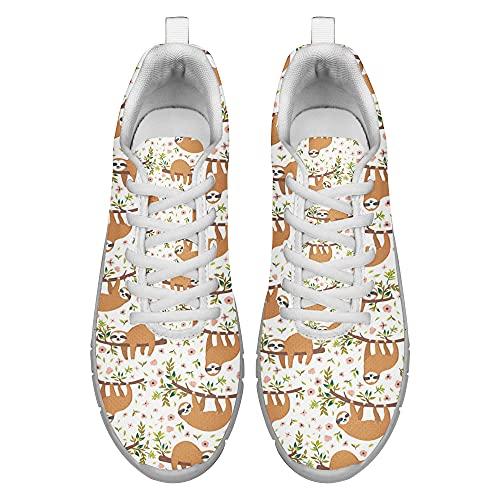Dolyues Zapatillas deportivas deportivas con estampado completo de leopardo 3D para mujer, perezoso, 39.5 EU