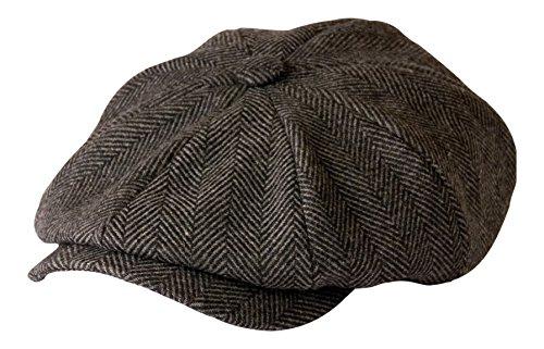 Gamble & Gunn, 'Shelby' Newsboy Cap, berretto in panno grigio a spina di pesce Grey Herringbone 65 cm