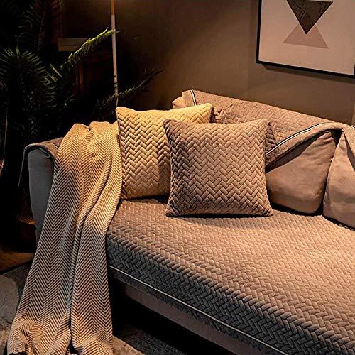 Plüsch Lförmige Sofabezug Ecksofa Schonbezug Einfarbig Moderne Kindermöbel Protector Sectional Couch-Bezüge Loveseat Chaise Longue rutschfeste Sofatuch,Grey-70x210cm/(27x83inch)