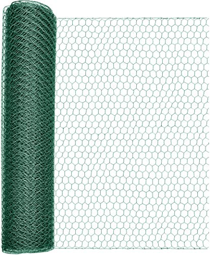 Windhager Sechseck-Geflecht kunststoffummantelt, Umzäunung Grundgrenze, Wühlmausschutz Hochbeet, Dachrinnenabdeckung, Grün, Maschenweite 25 mm, 10 x 0,5 m x 1 mm, 70100
