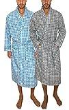 AMERICAN HEAVEN Mens 2-Pack Lightweight Sleep/Lounge Long Bath Robe -Premium Cotton Blend (2 Pack- Blue Grey Broadcloth Plaids, S/M (Small -Medium))