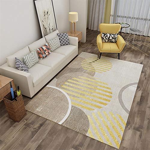 La alfombras hogar recibidor Alfombra Antideslizante Lavable de diseño geométrico marrón Amarillo Alfombra Pelo Corto alfombras Comedor 140X200CM