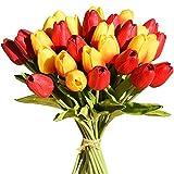 Tifuly 24 Pezzi di Tulipani Artificiali in Lattice, realistici Bouquet di Fiori Finti di Tulipani per la casa, Matrimonio, Festa, Decorazione dell'ufficio, composizioni Floreali (Rosso + Tramonto)