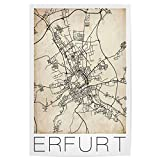artboxONE Poster 30x20 cm Städte Erfurt Retro Map Germany