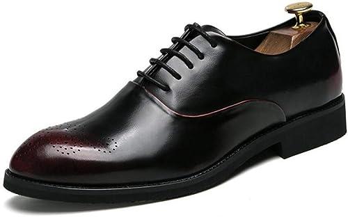 Herren Lederschuhe Frühling Herbst Business-Schuhe Formale Kleid Schuhe Spitz Schuhe Hair Stylist Schuhe Party & Abend (Farbe   B, Größe   44) (Farbe   On, Größe   38)