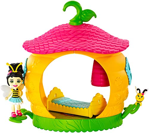 Enchantimals Petal Park Beehive Bedroom Playset 7-inch Beetrice Bee Mini Doll 2-inch & Pollen Bug Animal Friend Figure, Mini Playset with Bed and Beehive Nest Removable Accessories