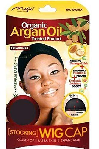 magic collection Organic Argan Oil Stocking Wig Cap Black 3000Bla by Magic Collection