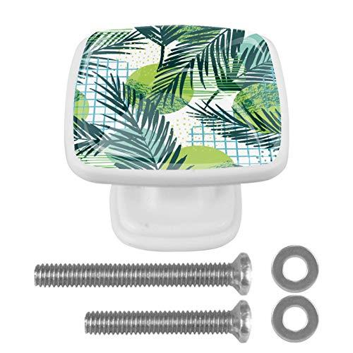 Pack de 4 pomos cuadrados blancos para armario de cocina para dormitorio, armario y cajones, hojas verdes, palmeras tropicales