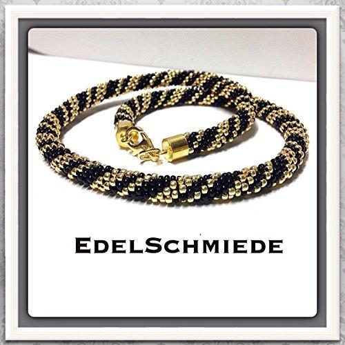 Häkelkette aus Glasperlen mit 925 Silber vergoldet 44 cm