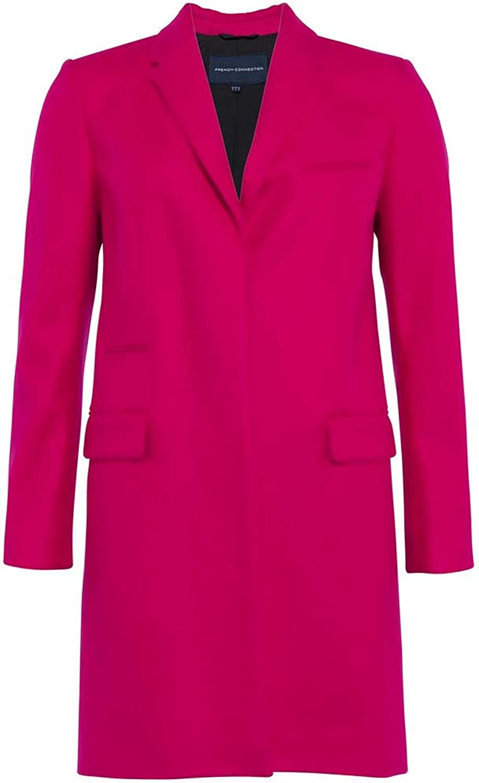 French Connection Platform Felt Smart Womens Coat Bright Baked Cherry 10