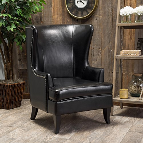 Great Deal Furniture Jameson Tall Wingback Black Leather Club Chair
