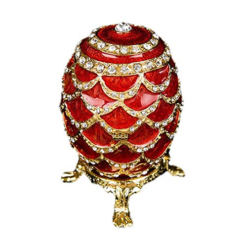 Snh0216 Caja de joyería con bisagra de aleación de zinc de huevo esmaltado Eñado de Pascua con espumosos Rhinestones Craft Thinket Treasurado Caja de almacenamiento para anillos Collares (Color: Rojo,