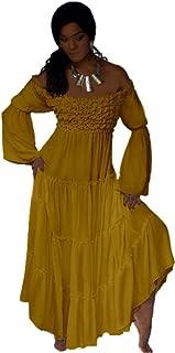 Mexican Boho Dress Peasant Ruffled Empire Line V989