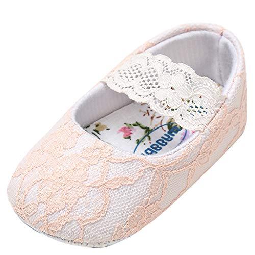 Berimaterry Bebé Prewalker Zapatos Primeros Pasos para bebé-niñas,Zapatos de Flores de Encaje,Sandalias de Bowknot para 0-6 6-12 12-18 Meses Bebé Cuero Princesa Suave Suela Niña Casuales 0-18 Mes