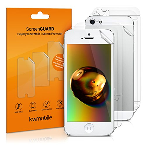kwmobile 3X Lámina de Pantalla Mate y ANTIREFLECTANTE + 3X Lámina de Parte Trasera Transparente Compatible con Apple iPhone SE (1.Gen 2016) / 5 / 5S