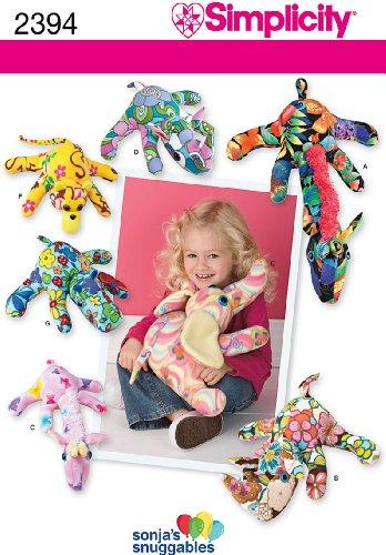 Simplicity Sonja's Snuggables Pattern 2394 Fleece Giraffe, Rhino, Elephant and Monkey