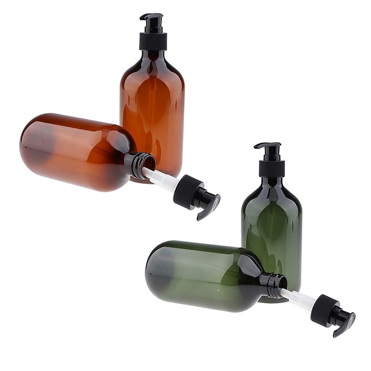 B Baosity 4本 ポンプボトル 漏れ防止 500ml 半透明