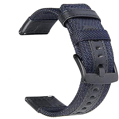 Correas De Reloj De Nylon Reloj de Reloj de Reloj de 20 mm 22mm 46mm 42mm de Cuero de Nylon Correa de Reloj Correa Reloj (Band Color : Blue)