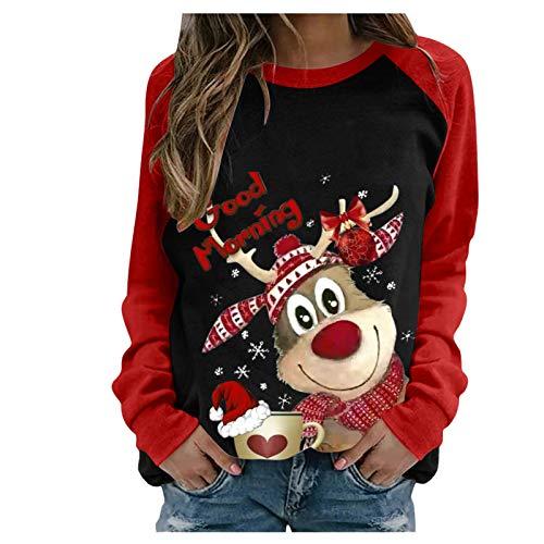 LANSKRLSP Maglietta a Maniche Lunghe con Stampa di alci di Natale Felpa Girocollo Maglione Donna Invernale Corto Felpa Thrasher Donna Natale Maglione Natalizio Famiglia Manica Lunga