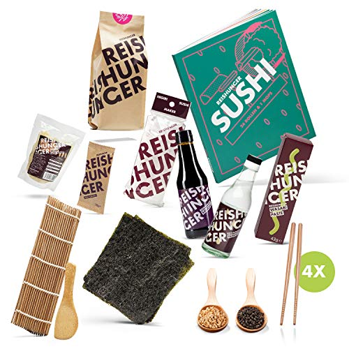 Reishunger Sushi Premium Box inkl. Sushi Kochbuch – Komplett-Set mit Sushi Maker, Nori Algen, Sushi Reis, Sojasauce, Reisessig, Wasabi, Ingwer, Sesam, Rollmatte & Essstäbchen – Perfekt als Geschenk