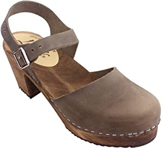 Swedish Clogs Highwood in Taupe Oiled Nubuck with Brown Sole