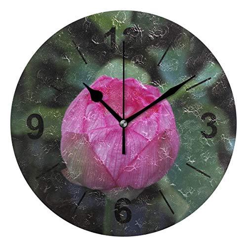 TABUE Reloj de Pared Redondo Flor Rosa Lotus Flower Silent para Oficina en el hogar Cocina Dormitorio 9.8inch / 25cm