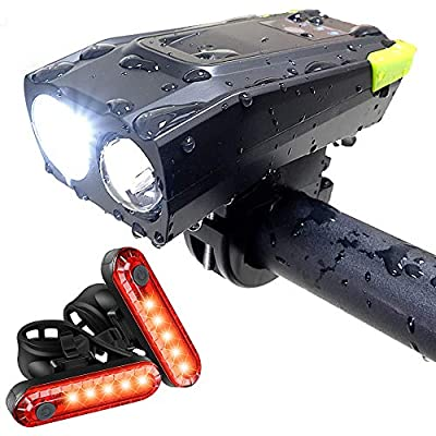 Bicycle Headlight, Bike Lights Front Set,USB Rechargeable ,Bright LED Bike Light Front,Waterproof Bicycle Headlight,Mountain Headlight, 2000 mAh Bike Light for Night Riding ,2 Free Bike Tail Light