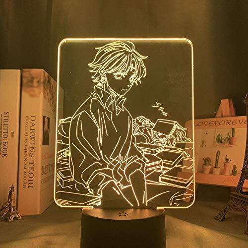 Luz nocturna en 3D Personajes de animación Interacción del juego Iluminación 3D Luces LED fantasma 3D Control de pantalla táctil de luces decorativas con 7 cambios de color