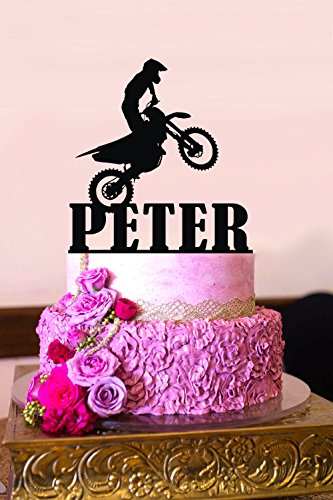 Topper per Torta Moto Dirt Bike Topper Motocross Stunt Personalizzato Compleanno Cake Topper Personalizzabile Nome Cake Topper