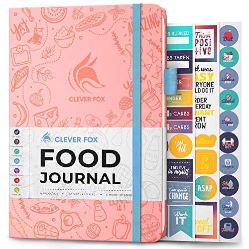 Clever Fox Food Journal - Daily Food Diary, Meal Planner to Track Calorie and Nutrient Intake, Stick to a Healthy Diet & Achieve Weight Loss Goals. Undated - Start Anytime. A5, Hardcover - Light Pink